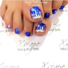 Blue And Silver Toe Nail Designs Blue Nativity With Silver Glitter Pedicure Nail Art Toe