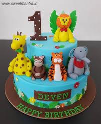 3d Animals Theme 2 Layer Customized Fondant Cake For Boys 1st