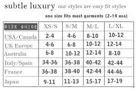 Size Chart Subtle Luxury