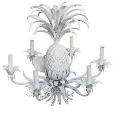 american tin and plaster six light pineapple chandelier for