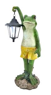 frog solar light frogs garden figurines outdoor with lantern accent of the s trading post powered frog solar light