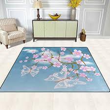 area rug erfly cherry fl pink print carpet designer super soft polyester large non