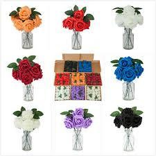 <b>50pcs</b> PE <b>Foam Rose</b> Flower Artificial Rose Wedding Party Bouquet ...