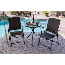 San Clemente 3 Piece Wicker Chair And Table Set  At Home  At HomeThree Piece Outdoor Furniture