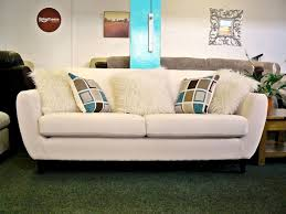 retro style furniture cheap. NEW: Charlie Cream Fabric 3 Seater Retro Style Sofa With Contrast Cushions - FREE UK Furniture Cheap