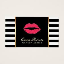 modern black white. fine black makeup artist red lips modern black white stripes business card intended
