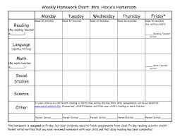 Homework Agenda Templates Weekly Homework Agenda Template