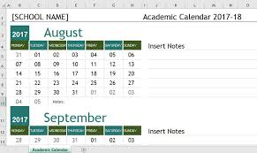 Academic Calendar Templates 2017 18 For Ms Excel Word
