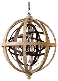 iron and wood open work globe with crystal accents