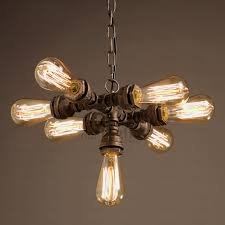 pendant lighting industrial style. Primitive 7 Light Water Pipe Shaped Industrial Style Pendant Lights Chandelier Lighting A