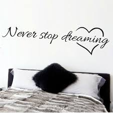 Quotes wall stickers Never stop dreaming inspirational quotes wall art bedroom decorative 36