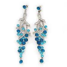 long swarovski turquoise crystal chandelier earrings silver plated metal 11 5cm drop