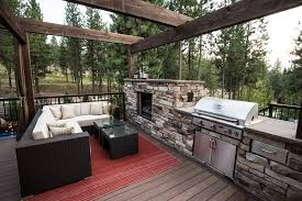 outdoor fireplace and grill deck transitional with bbq beige cushions beige image by copper creek landscaping
