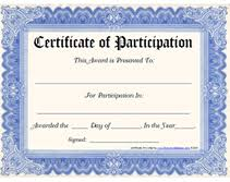 Certificate Of Participation Templates Printable Certificate Of Participation Award Certificates