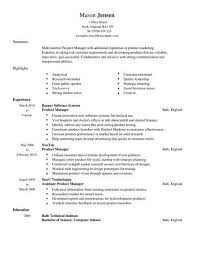 Simple Cv Examples Uk Product Manager Cv Template Cv Samples Examples