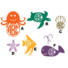 wall decal monogrammed marine life