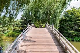 Japanese Style Garden Bridges Chicago Botanic Garden Bridge In The Japanese Garden Area Stock