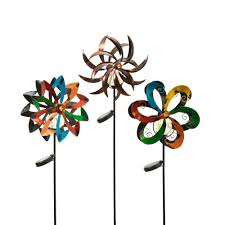 tall solar powered metal yard stakes with wind spinners 3