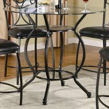 Awesome Round Glass Dining Table With Black Wrought Iron Base - Dining room furniture clearance