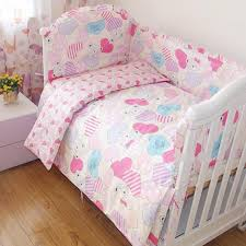 Cotton Toddler Bedding Set for Girls with White Crib Bed Frame