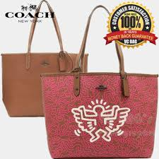 COACH X KEITH HARING F11765 Reversible City Tote Bag  Khaki  Pink Ruby