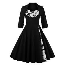 Floral Print Paneled Swing Dress Black 4xl In Vintage