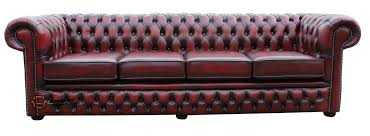 details about chesterfield new winchester 4 seater antique oxblood real leather sofa settee