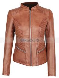 rachel womens fitted brown cognac leather jacket
