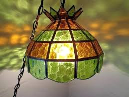 vintage stained glass hanging lamps swag lamp green gold chandelier ceiling light from the dale