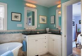 bathroom corner vanity. example of a mid-sized classic 3/4 blue tile and mosaic ceramic bathroom corner vanity o