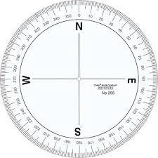 Compass Degrees Chart Printable 360 Degree Protractor In 2019 Compass Rose