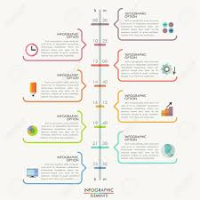Minimal Infographics Timeline Template With Colorful Outline