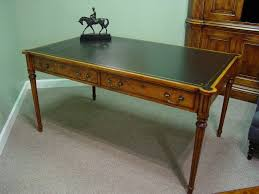 walnut leather top writing table