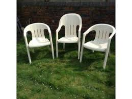 garden chairs x 3 cream plastic in stourbridge west midlands preloved