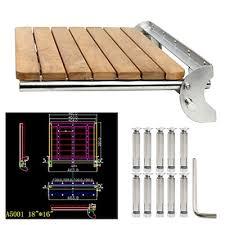 yaemarine teak folding shower seat wall mounted solid wood fold down spa bench