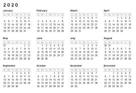 12 Months 2020 Calendar Printable 2020 12 Months Blank Calendar Free Printable