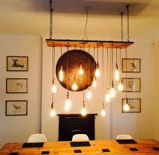 vintage led bulb wood chandelier wood lamps restaurant bar chandeliers