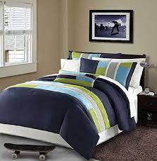 Navy Blue Bedding Sets and Quilts | Comforter, Dorm and Modern & Modern Teen Bedding Boys Kids 3 Piece Comforter Set Navy Blue Teal Light  Green Stripes Perfect Adamdwight.com
