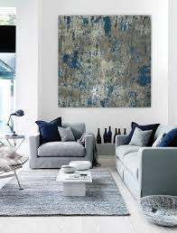 blue grey white wall art