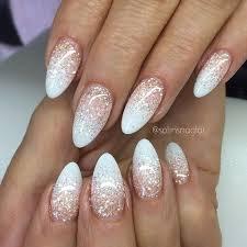 Almond Ombre French Glitter Nehty Designy Pro Gelové Nehty