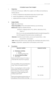 lesson plan descriptive essay