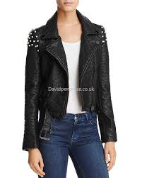 women s moto joe s jeans comfortable taylor embellished faux leather motorcycle jacket in black zo7899