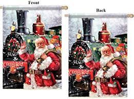Amazon Com North Pole Express Flag 28x40 Christmas Santa 2 Sided