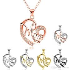 whole new crystal heart mom necklace pendant diamond fashion love mom jewelry mother birthday day gift drop silver pendants silver necklace