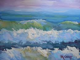 palette knife painters small seascape daily painting small oil painting the pastel sea by schiff 8x10 original