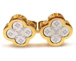 louis vuitton earrings mens. louis vuitton 18k gold plated cufflinks earrings mens g