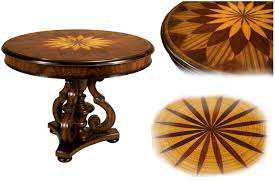 traditional satinwood inlaid round mahogany center table