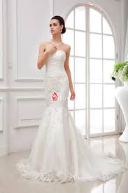 fit and flare strapless sweetheart embroidered lace wedding dress