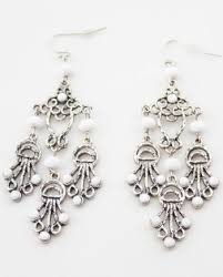vintage silver tone openwork metal white lucite beads dangle chandelier earrings