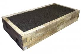 oblong oak raised bed with soil